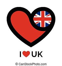 hart, vlag, liefde, uk, pictogram