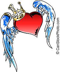 hart, vliegen, kroon, illustratie