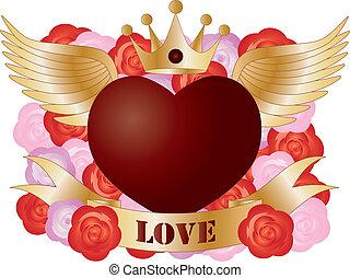hart, vliegen, spandoek, rozen