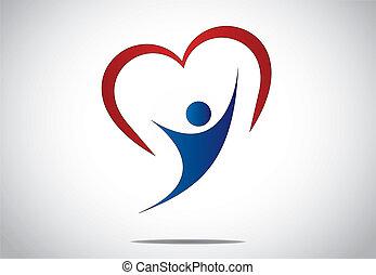 hart, vreugde, jonge, sprong, persoon, vrolijke