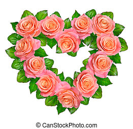 hart, vrijstaand, roses., achtergrond, pink-orange, witte