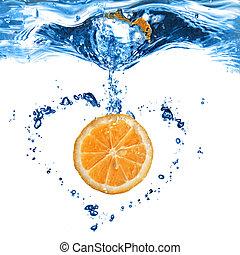 hart, vrijstaand, water, vorm, sinaasappel, bellen, witte