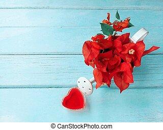 hart, vullen, bloemen, op, blauwe achtergrond, dag, houten, valentijn, rood, behang, minnaar, mooi
