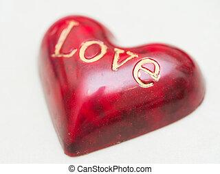 hart, woord, gevormd, met de hand gemaakt, versuikeren, chocolade, liefde, rood