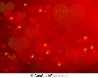 hartjes, -, achtergrond, rood, valentijn