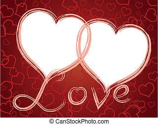 hartjes, frame, liefde, twee, model