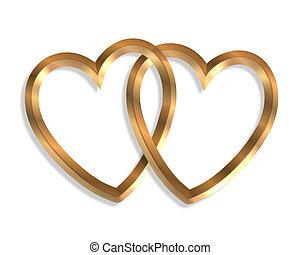 hartjes, goud, 3d, aangesluit