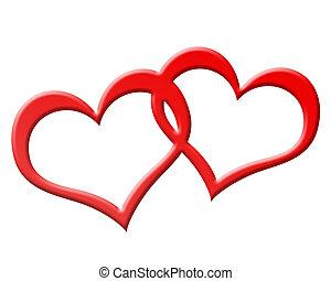 hartjes, jioned, twee, samen, rood