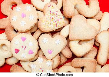 hartjes, koekjes, verfraaide