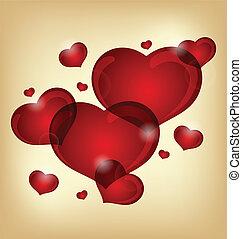 hartjes, set, valentijn