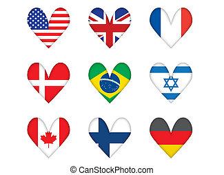 hartvormig, vlaggen