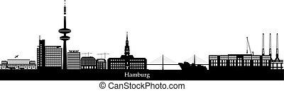 haven, luchthaven, skyline, hamburg