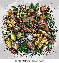 hawaii, getrokken, doodle, spotprent, illustration., hand
