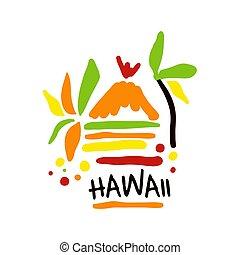 hawaii, illustratie, hand, vector, mal, logo, getrokken, toerisme