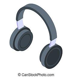 headphones, isometric, dj, pictogram, stijl