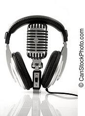 headphones, microfoon, retro, dj, &
