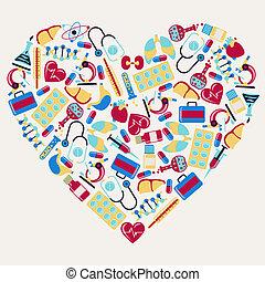 heart., iconen, medisch, vorm, gezondheidszorg
