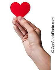heart., symbool, van een vrouw, -, vrijstaand, hand houdend, rood