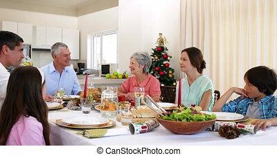 hebben, kerstdiner, gezin, breidde uit