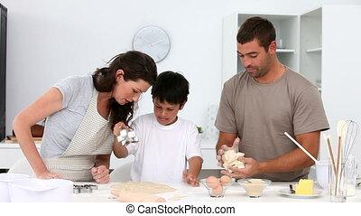 hebben, keuken, plezier, gezin