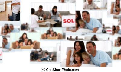 hebben, montage, families, plezier