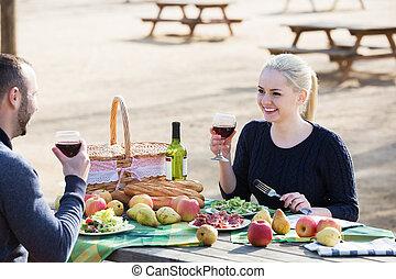 hebben, platteland, paar, picknick