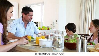hebben, samen, gezin, het glimlachen, diner