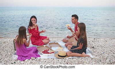 hebben, strand, familie picknick