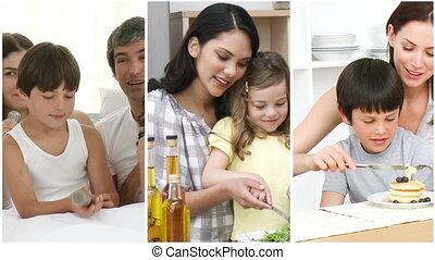 hebben, vrolijke , plezier, familie huis