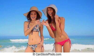 hebben, vrouwen zet op het strand, plezier, vrolijke