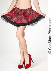 heels, benen, van een vrouw, rok