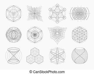 heilig, symbolen, meetkunde, communie, set.
