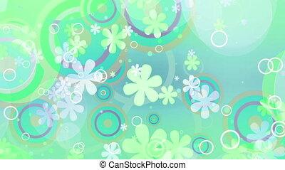 helder, retro bloemen, lus, tint, groene