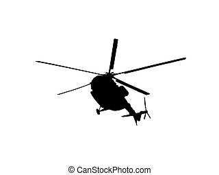 helikopter, witte , silhouette, achtergrond