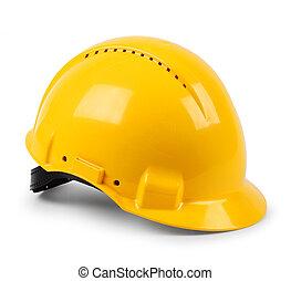 helm, beschermend, hard, moderne, vrijstaand, gele, veiligheid, hoedje