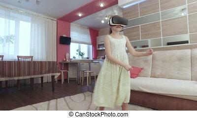 helm, dancing, feitelijke realiteit, gekke , meisje
