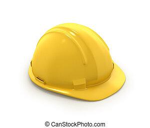 helm, of, plastic, hoedje, gele, hard