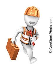 help., arbeider, uitvoeren, moersleutel, 3d
