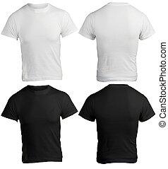 hemd, mannen, black , mal, leeg, witte