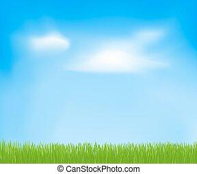 hemel, lente, abstract, wolken, grass., vector, groene achtergrond, ontwerp, jouw, mal
