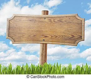 hemel, meldingsbord, hout, achtergrond, gras, straat