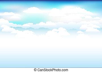 hemel, vector, wolken, blauwe