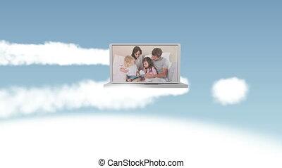 hemel, video, gezin, vrolijke