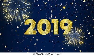 hemel, vuurwerk, 2019, jaar, nieuw, anmimation, kaart