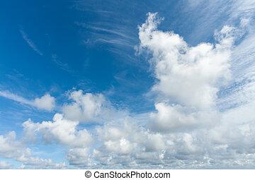 hemel, wolken, mooi, blauwe