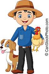 hen, farmer, spotprent, dog, jonge