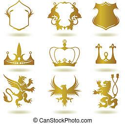 heraldisch, vector, set, goud, elements.