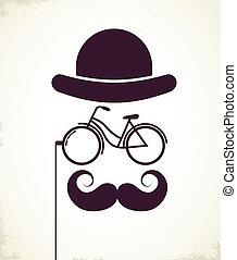 heren, eyeglass, fiets