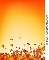 herfst, achtergrond., bladeren, eps, 8