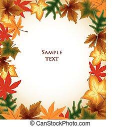 herfst, achtergrond., bladeren, vector, frame